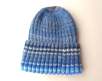XL Mens Hat, Hand Knit, Blue Gray Stripes, 100% Wool, Watch Cap, Double Brim Beanie, Extra Large