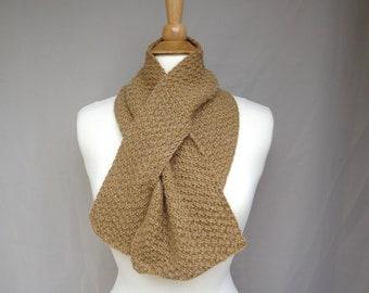 Alpaca Wool Blend Keyhole Scarf, Camel Gold, Pull Through Neck Warmer, Hand Knit, Men or Women, Warm Winter Short Scarf
