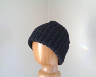 Black Beanie Hat, Mens XL, Cashmere Wool Blend, Hand Knit, Watch Cap Brim, Natural Fiber, Extra Large, Guys Gift