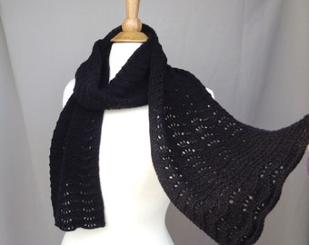 Black Cashmere Scarf for Women, Hand Knit Scallop Lace Design, Gift for Her, Super Soft Luxury Natural Fiber