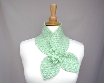 Mint Green Ascot Scarf, Rose Flower, Hand Knit, Soft Cashmere Wool, Bow Neck Office Scarf, Small Cute Chic, Women Teen Girls Accessory Scarf