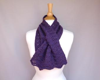Dark Purple Keyhole Scarf, Pull Through Neck Scarf, Merino Wool Alpaca Angora Silk, Gift for Mom, Hand Knit