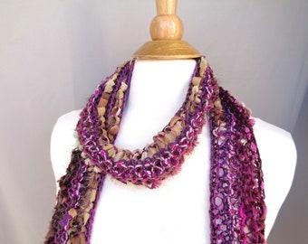 Crazy Art Scarf, Hand Knit, Girl Power Fashion, Pink & Brown, Skinny Thin Scarf, Trendy Chic, Women, Teen Girls, Designer Boutique