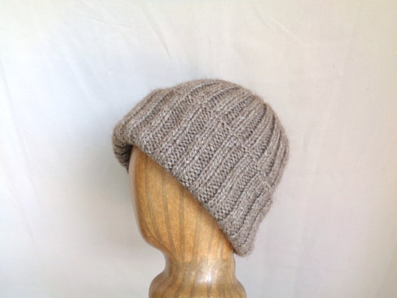 dee104a62d7 Hand Knit Hat American Bison Buffalo Wool Natural Brown