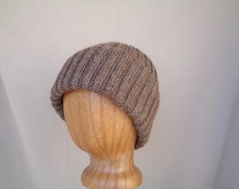 Alpaca Wool Hat, Hand Knit, Roll Brim Beanie, Watch Cap, Natural Brown Stocking Cap, Men Women