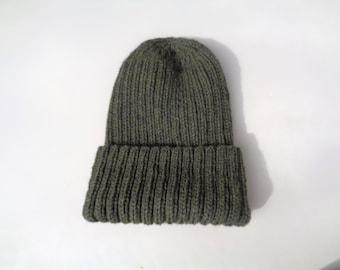 XL Mens Hat, Olive Green, Watch Cap with Folded Brim, Hand Knit Peruvian Wool, Warm Wool Hat