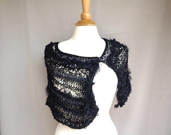 Stole Wrap with Button, Cape Style Shawl, Lace Design, Black Artsy Fashion, Wedding Formal, Shoulder Warmer