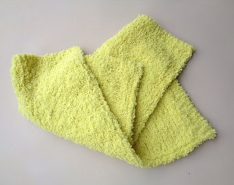 Chenille Lovey, Soft Yellow Green, Security Blanket, Baby Toddler Girl, Hand Knit Special Needs Child