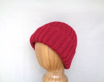 Alpaca Wool Hat, Red, Watch Cap Beanie, Hand Knit, Teens Men Women, Luxury Natural Fiber, Gift for Him