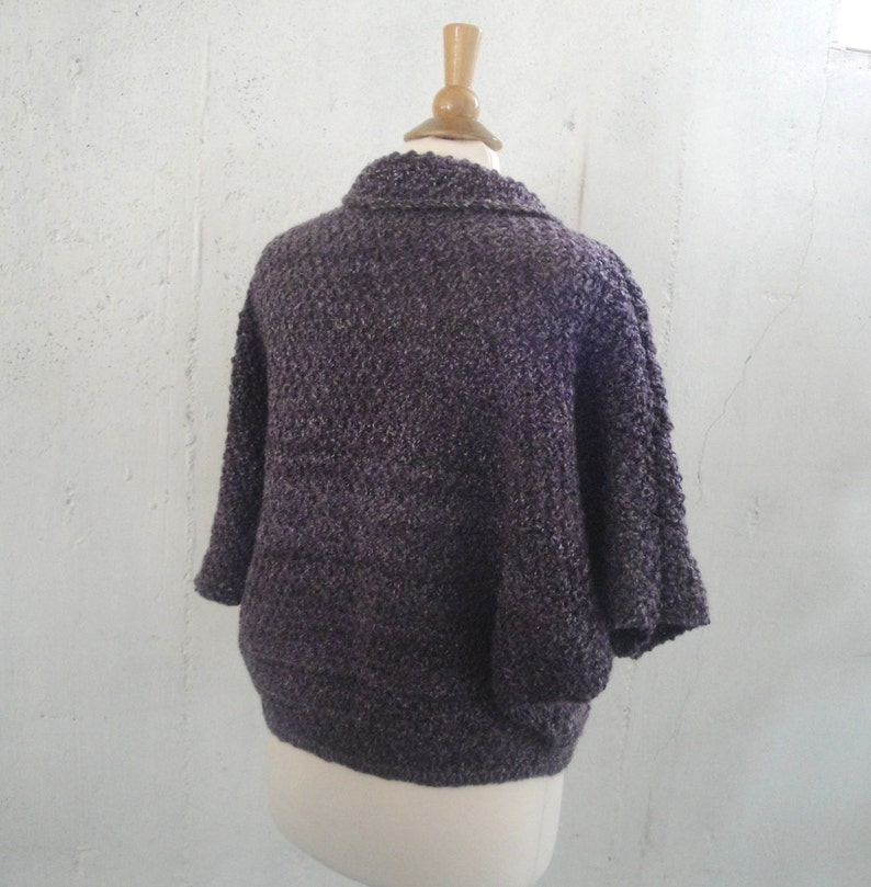 Oversized Cardigan Sweater Purple Stripes Bed Jacket Womens S M Dolman Sleeves Loose Sweater Hand Knit Chunky Shrug