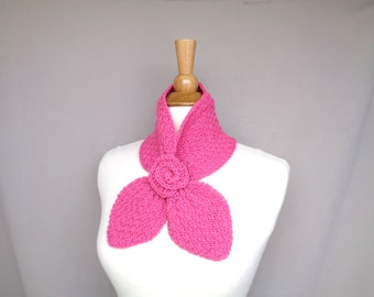 Bright Pink Ascot Scarf with Rose Flower, Pull Through Keyhole Scarf, Small Neck Scarf, Hand Knit Neck Warmer, Cashmere Blend