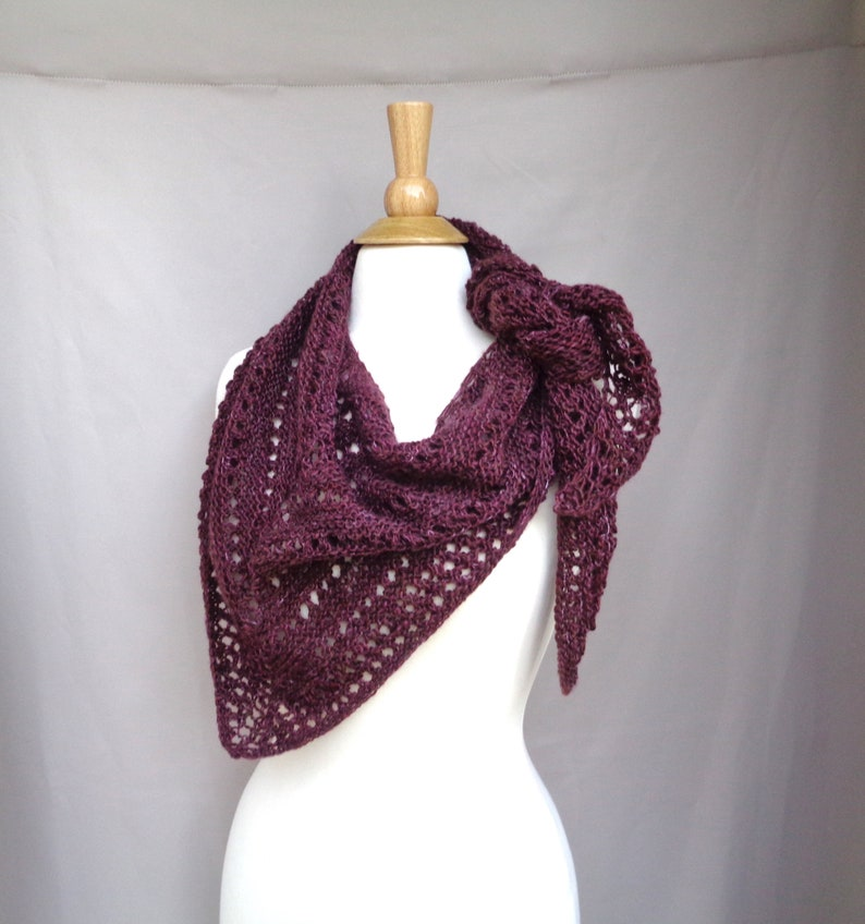 Triangle Scarf with Lace Design Burgundy Wool Blend Hand image 0