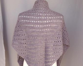 Shoulder Shawl, Alpaca Merino Wool, Brown Marl, Hand Knit, Soft Light Weight, Triangle Wrap Scarf, Comforting Healing Prayer Shawl