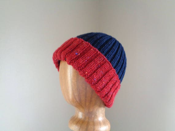 2e64dc0690b Warm Wool Beanie Hat M L Navy Blue   Red Tweed Hand Knit