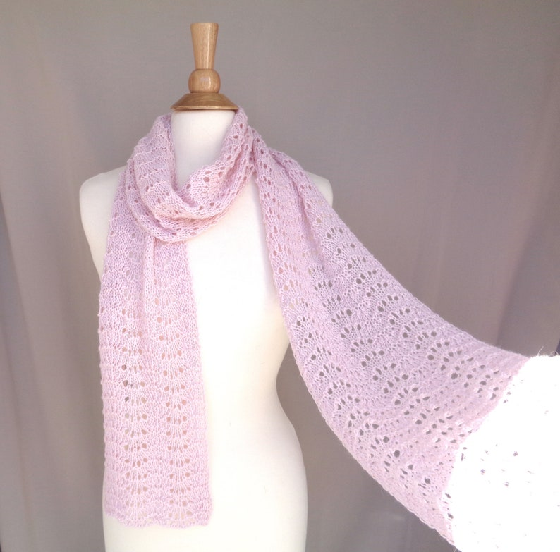 Pale Pink Scarf Baby Alpaca Wool Hand Knit Natural Fiber image 0
