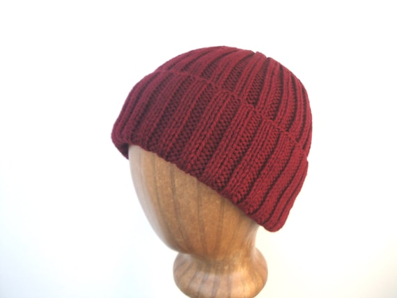 cfc9937fe52 Wine Red Hat Hand Knit Beanie Watch Cap Peruvian Wool Mens