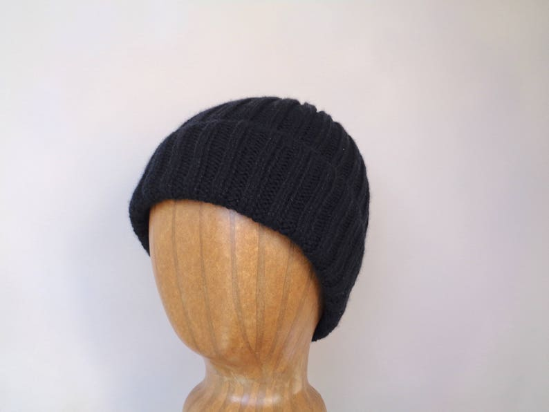 1b87975460e Knit Cashmere Hat Black Beanie Watch Cap Luxury Gift for