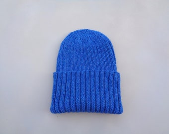 XL Mens Hat, Hand Knit, 100% Wool, Bright Blue, Beanie Hat, Watch Cap with Brim, Natural Fiber, Extra Large