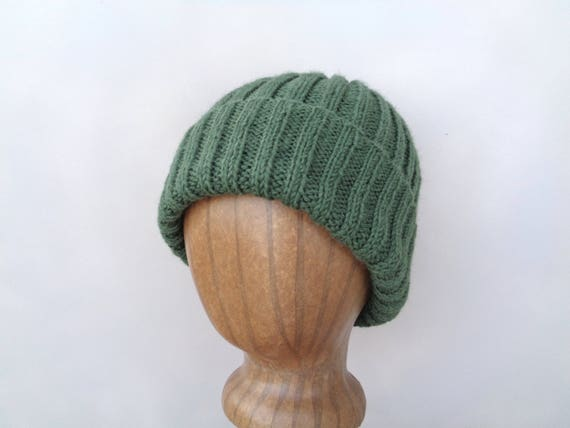 f9f22b9a400 Alpaca Wool Hat Moss Green Watch Cap Beanie Hand Knit