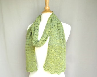 Moss Green Cashmere Scarf, Hand Knit Scallop Lace Pattern, Light Wrap Scarf, Women, Super Soft