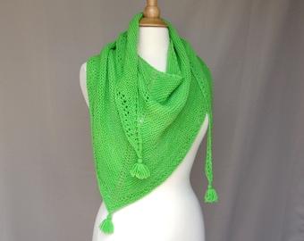 Triangle Scarf with Tassels, Lime Green, Merino Wool, Hand Knit, Shoulder Shawl, Neck Wrap, Bandana Scarf