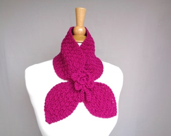 Ascot Scarf with Flower, Magenta Pink, 100% Wool, Pull Through Keyhole, Small Neck Scarf, Hand Knit Neck Warmer