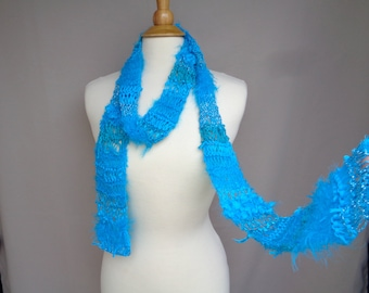 Wild Art Scarf, Turquoise Blue, Mixed Texture, Thin Accent Skinny Scarf for Summer, Women & Teen Girls, Hand Knit