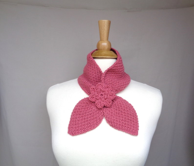 Salmon Pink Ascot Scarf with Rose Flower Pull Through Keyhole image 0