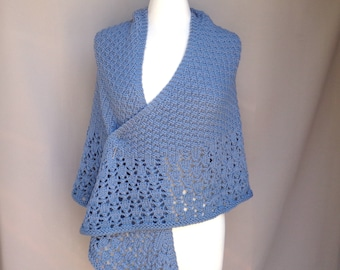 Shawl Wrap with Lace Border, Hand Knit, Merino Wool, Triangle Shape, Prayer Wedding, Blue Gray