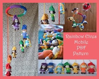 Rainbow Elves Mobile Amigurumi Pattern