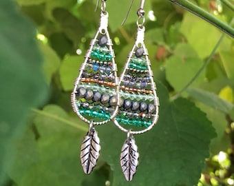 Rainforest Czech Glass Hoop Earrings with Sterling silver Hoops and Leaf Charm