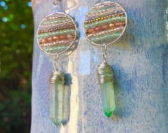 Aura Quartz Point Earrings // Sterling Silver Jewelry Czech Glass Beaded Earrings // Hypoallergenic // Bohemian Gypsy Crystal Earrings