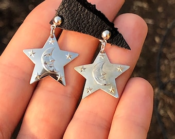 """Vintage 80s Retro Clear Crescent Moon Star Dangle Earrings 2/"""" Saved by the Bell"""