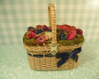 Vintage Wicker Baskets with FloralFruit Appliques