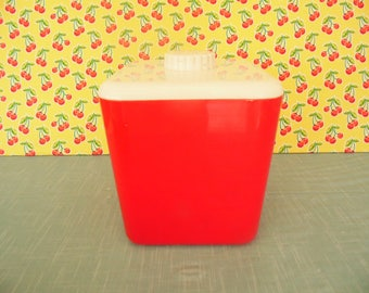 Vintage Red Plastic Canister - Lustro Ware - No. 113 -  1960s Kitchen