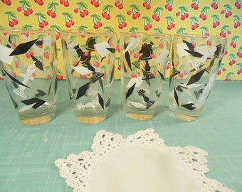 Mid Century Bar Glasses - Black White - Chess Pieces - Set Of 4 - 10 Ounce - 1960s