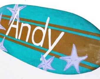 Decorative Surfboard Signs, 18 inch Wooden Surfboard Signs, Boys Surf Decor, Beach Themed Bat Miztvah Wall Decor, Custom Beach Signs, Andy