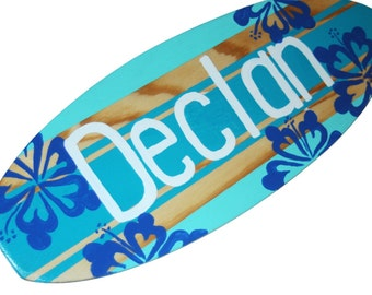Custom Surfboard Wall Art, Small Decorative Surfboard Sign, Personalized Surfboard Wall Decor, Beach Theme Decor, Beach Themed Nursery Decor