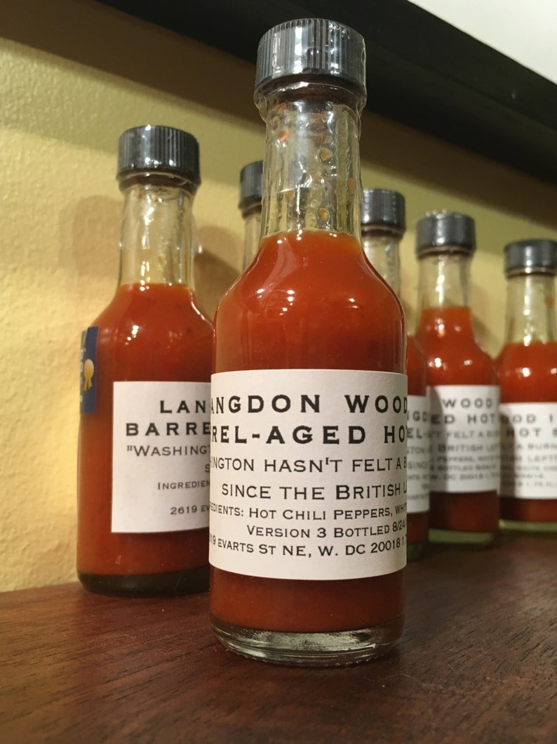 TWO 2 SMALL bottles L.W. 1814 Barrel Aged Hot Sauce image 0