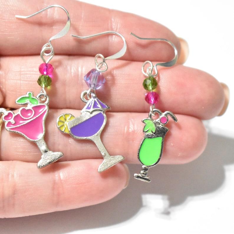 Martini Earrings CE153 Clip On Earrings Birthstone Earrings Alcohol Earrings Party Drinks Charm Earrings Tropical Drink Charm Earrings
