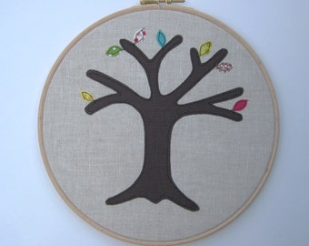 """Wedding anniversary gift - a perpetual wedding tree - add a new leaf for each year of marriage. Applique tree in 8"""" wooden hoop frame"""