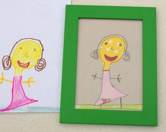 Your child's drawing appliqued on to fabric. Personalised gift idea. Kids' drawing materialised.