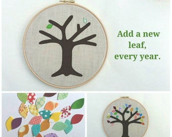 """Cotton anniversary gift - add a new leaf each year of marriage. Applique tree in 8"""" wooden hoop frame"""