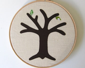 """Green cotton anniversary gift -  Add a new leaf each year of marriage. Applique tree in 8"""" wooden hoop frame"""