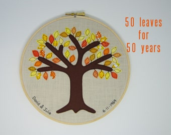 """50 Year, Golden anniversary gift - 50 golden leaves for 50th anniversary.  Free motion appliqué tree in 8"""" wooden hoop frame"""