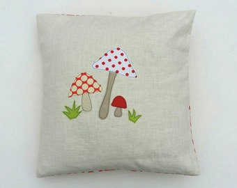 """Toadstool cushion cover - mushrooms, red and white, free motion applique, linen and Amy Butler cotton. 40cm / 16"""""""
