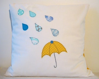 """Umbrella and raindrops cushion cover, yellow and blue, free motion applique, linen and cotton. 40cm / 16"""""""