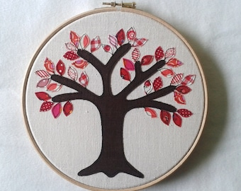 """Ruby anniversary gift - 40 red leaves. Free motion appliqué tree in 8"""" wooden hoop frame"""