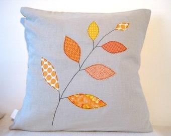 "Cushion cover, orange autumn / fall leaves on a branch, free motion applique, linen, cotton, 16"" / 40cm."