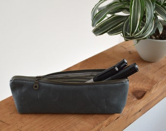 Waxed Canvas Pencil Case in Slate
